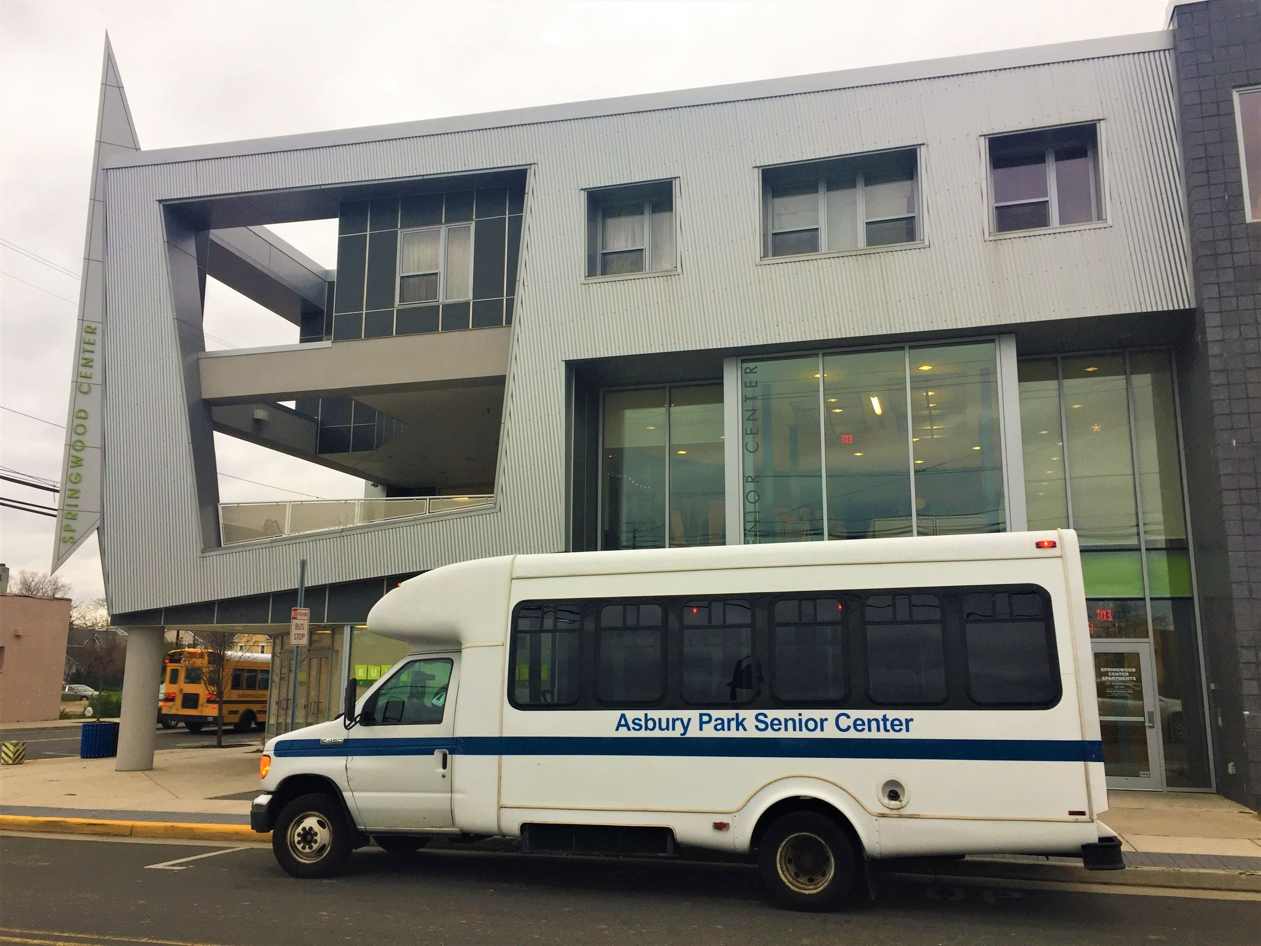 Asbury Park Senior Center building and vehicle