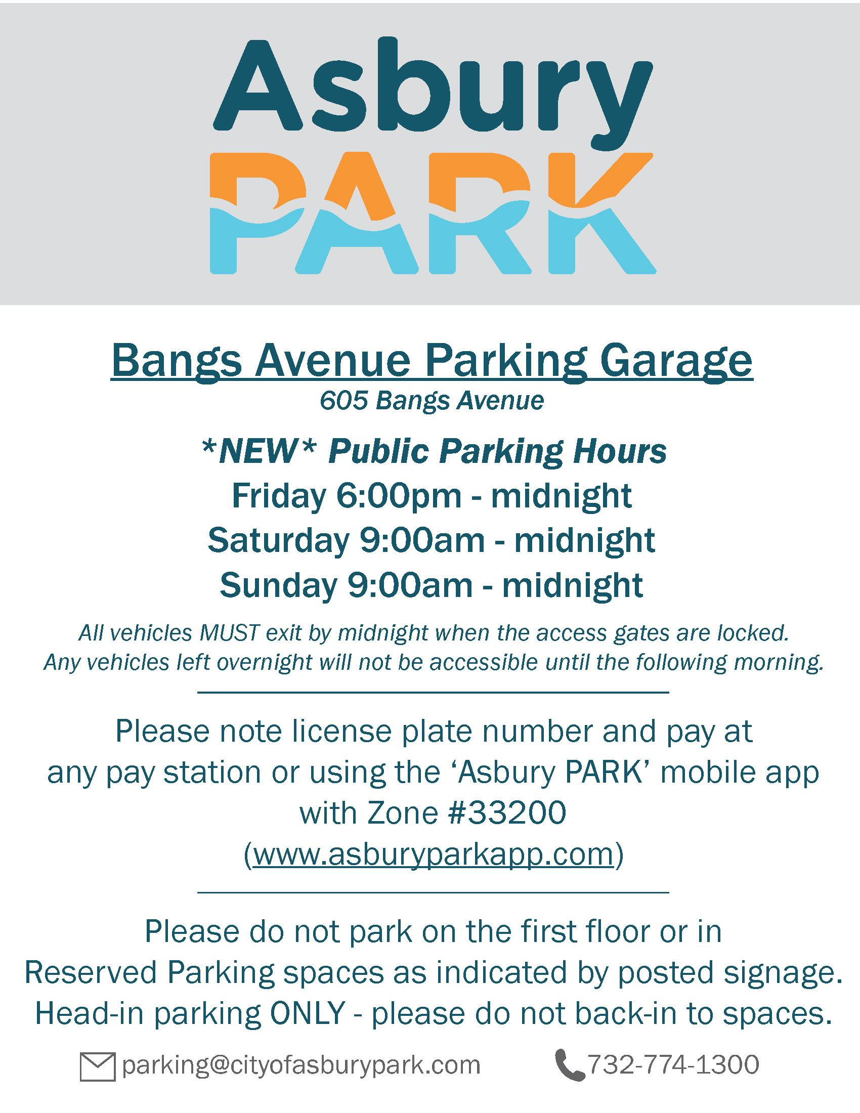 New Bangs Avenue Garage Public Parking Hours