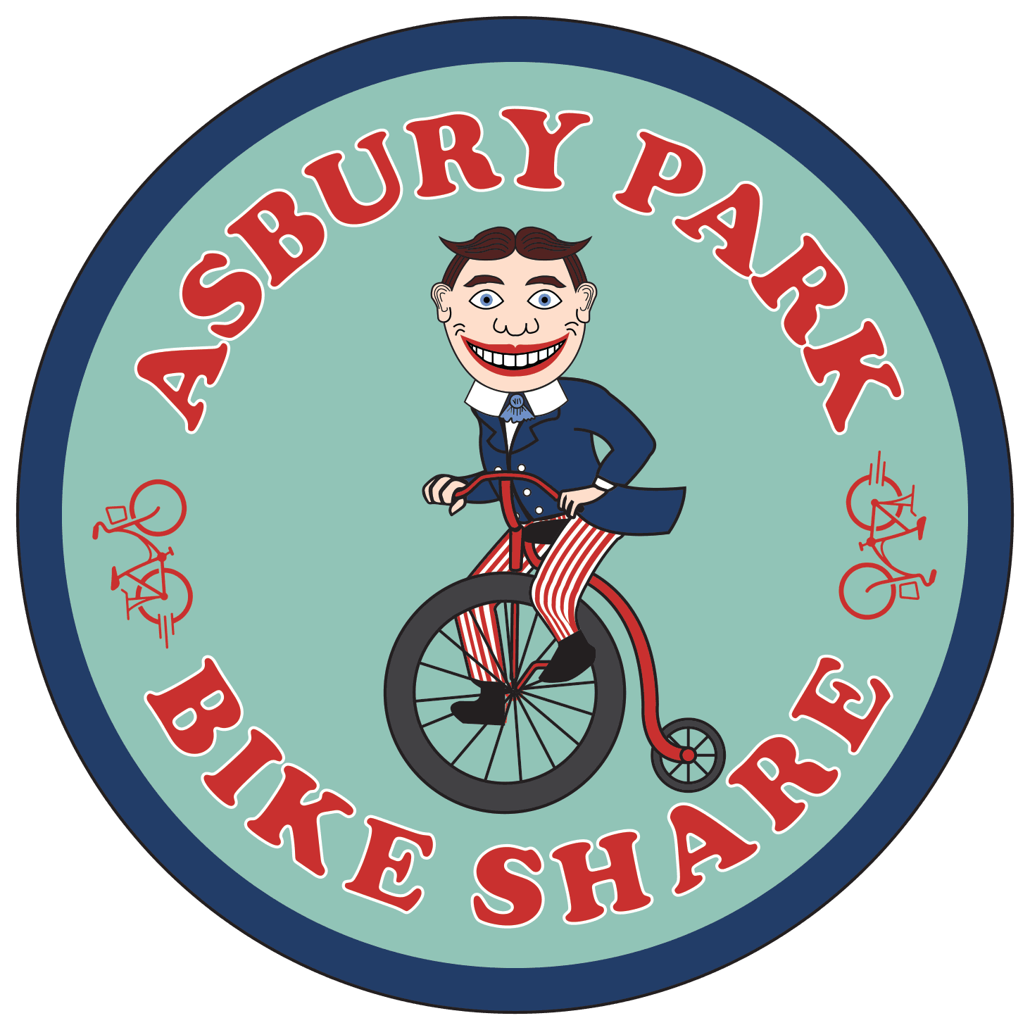 Asbury Park Bike Share - Man on Ordinary Bicycle
